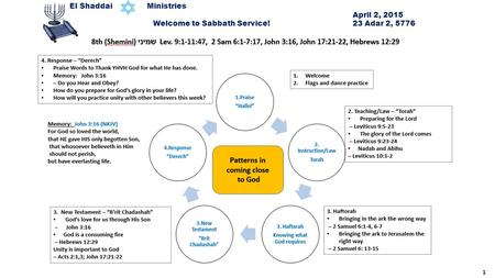 1 El Shaddai Ministries April 2, 2015 Welcome to Sabbath Service! 23 Adar 2, 5776.