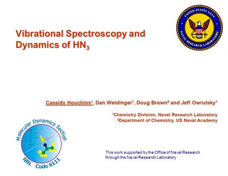 Vibrational Spectroscopy and Dynamics of HN 3 Cassidy Houchins 1, Dan Weidinger 1, Doug Brown 2 and Jeff Owrutsky 1 1 Chemistry Division, Naval Research.