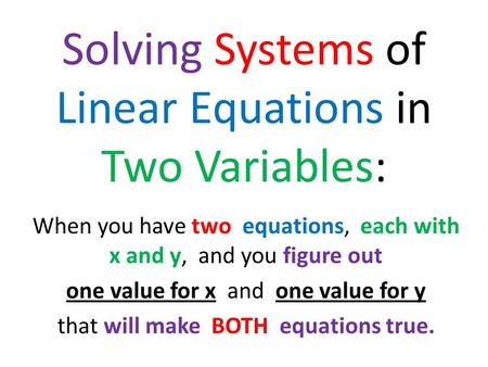 Solving Systems of Linear Equations in Two Variables: When you have two equations, each with x and y, and you figure out one value for x and one value.