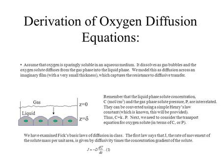 Derivation of Oxygen Diffusion Equations: