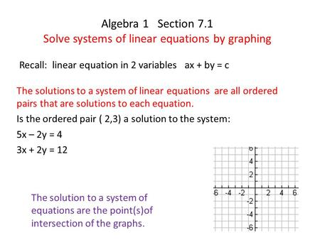 Algebra 1 Section 7.1 Solve systems of linear equations by graphing Recall: linear equation in 2 variables ax + by = c The solution to a system of equations.
