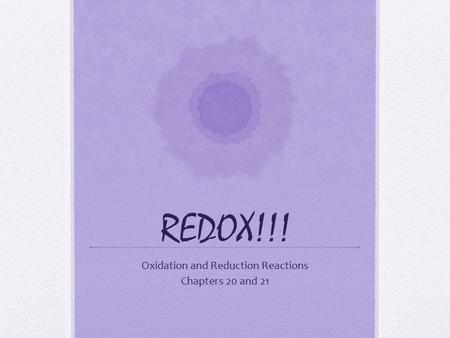 Oxidation and Reduction Reactions Chapters 20 and 21.