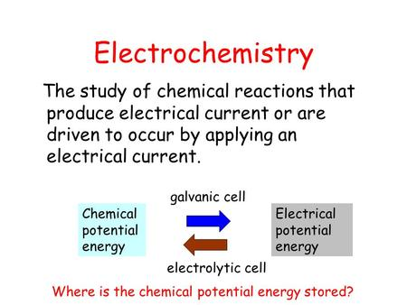 Electrochemistry The study of chemical reactions that produce electrical current or are driven to occur by applying an electrical current. Chemical potential.