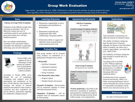 TEMPLATE DESIGN © 2008 www.PosterPresentations.com Group Work Evaluation Issue Fairness in Group Work Evaluation Evaluation can be difficult enough when.