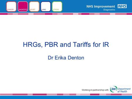 HRGs, PBR and Tariffs for IR Dr Erika Denton Working in partnership with.