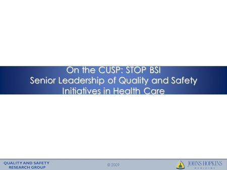 © 2009 On the CUSP: STOP BSI Senior Leadership of Quality and Safety Initiatives in Health Care.