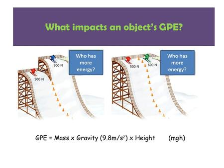 What impacts an object's GPE? Who has more energy?