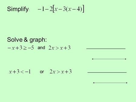 Simplify : Solve & graph: and _____________________ or _____________________.