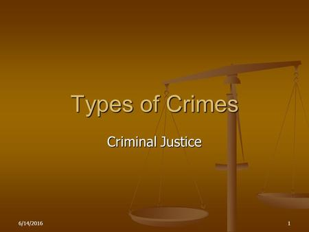 6/14/20161 Types of Crimes Criminal Justice 6/14/20162 Types of Crimes There are two types of crimes : There are two types of crimes : Malum prohibitum.