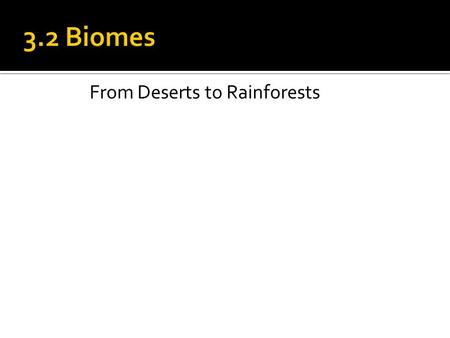 From Deserts to Rainforests.  Biome: a large group of ecosystems (SPCEB) that share a climax community  All biomes are not the same  Tundra, tropical.