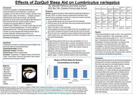 Effects of ZzzQuil Sleep Aid on Lumbriculus variegatus By: Meredith Patterson and Sarah Graham GCC Bio 100- Charles D'Amico High School Hypothesis: If.