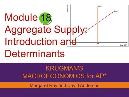 Module Aggregate Supply: Introduction and Determinants KRUGMAN'S MACROECONOMICS for AP* 18 Margaret Ray and David Anderson.