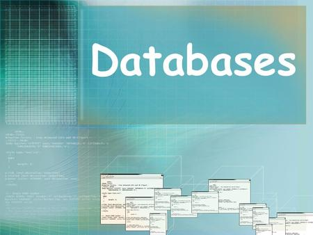 Databases. What is a Database? A database is an organized collection of information or data. Databases can be paper-based or electronic. Information (text.