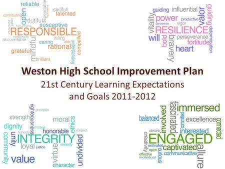 Weston High School Improvement Plan 21st Century Learning Expectations and Goals 2011-2012.