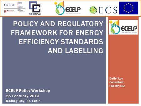ECELP Policy Workshop 25 February 2013 Rodney Bay, St. Lucia POLICY AND REGULATORY FRAMEWORK FOR ENERGY EFFICIENCY STANDARDS AND LABELLING Detlef Loy Consultant.