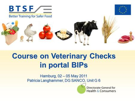 Course on Veterinary Checks in portal BIPs Hamburg, 02 – 05 May 2011 Patricia Langhammer, DG SANCO, Unit G 6.