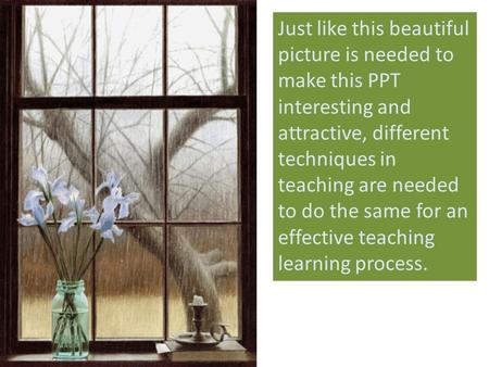 Just like this beautiful picture is needed to make this PPT interesting and attractive, different techniques in teaching are needed to do the same for.