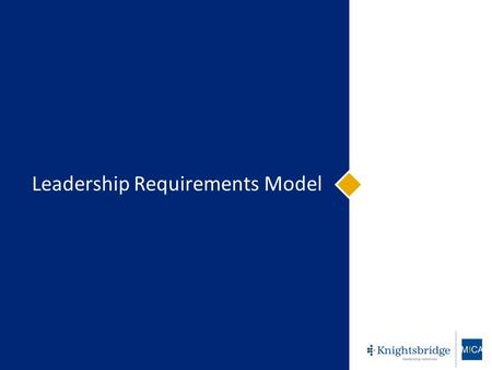 © Knightsbridge Human Capital Management Inc. Leadership Requirements Model.