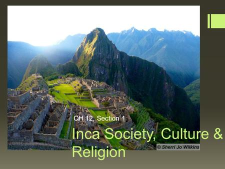 Inca Society, Culture & Religion CH 12, Section 1.