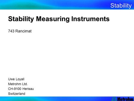 Stability Measuring Instruments