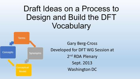 Draft Ideas on a Process to Design and Build the DFT Vocabulary Gary Berg-Cross Developed for DFT WG Session at 2 nd RDA Plenary Sept. 2013 Washington.