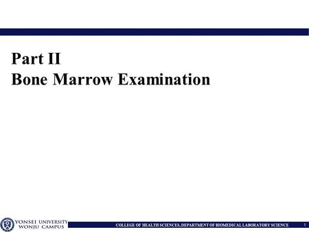 Part II Bone Marrow Examination