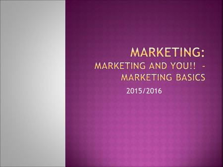 2015/2016.  What is Marketing????  Define in your own words (first)  Gallery Walk around the classroom AMA Defines Marketing: Marketing is the activity,