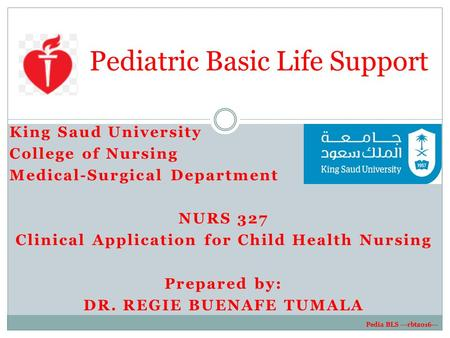 King Saud University College of Nursing Medical-Surgical Department NURS 327 Clinical Application for Child Health Nursing Prepared by: DR. REGIE BUENAFE.