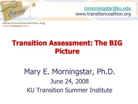 Transition Assessment: The BIG Picture Mary E. Morningstar, Ph.D. June 24, 2008 KU Transition Summer Institute