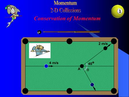 Conservation of Momentum Conservation of momentum: Split into components: If the collision is elastic, we can also use conservation of energy.