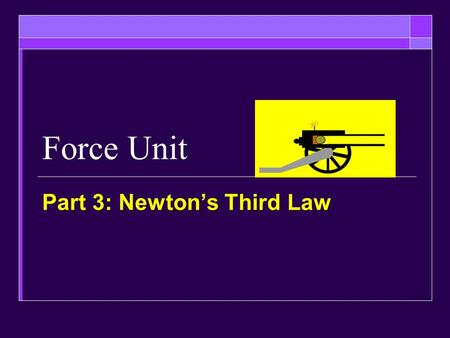 Force Unit Part 3: Newton's Third Law. Objectives  Be able to explain Newton's third law in your own words and give examples  Be able to show that all.