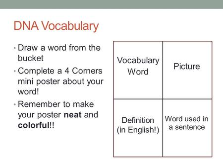 DNA Vocabulary Draw a word from the bucket Complete a 4 Corners mini poster about your word! Remember to make your poster neat and colorful!! Vocabulary.