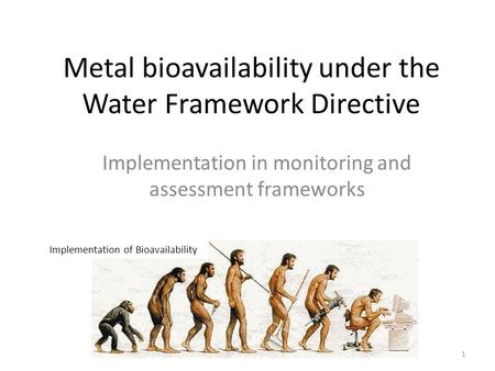 Metal bioavailability under the Water Framework Directive Implementation in monitoring and assessment frameworks Implementation of Bioavailability 1.