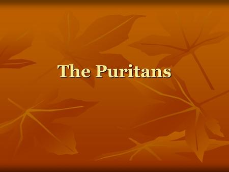 The Puritans. Who were the Puritans? Their movement began in the 16 th and 17 th centuries Their movement began in the 16 th and 17 th centuries Although.