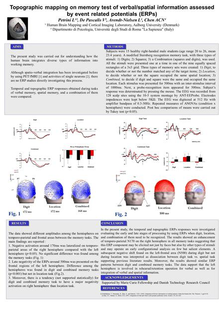 Topographic mapping on memory test of verbal/spatial information assessed by event related potentials (ERPs) Petrini L¹², De Pascalis V², Arendt-Nielsen.