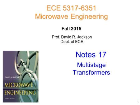 Notes 17 ECE Microwave Engineering Multistage Transformers