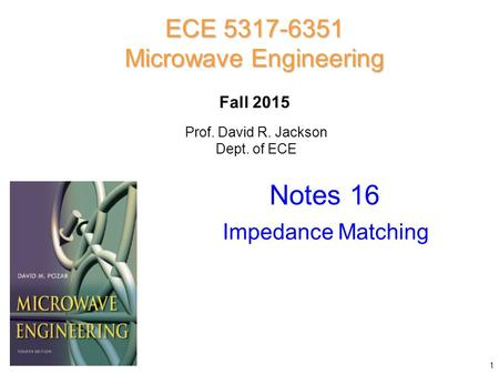 Notes 16 ECE 5317-6351 Microwave Engineering Fall 2015 Impedance Matching Prof. David R. Jackson Dept. of ECE 1.