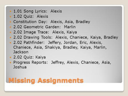 Missing Assignments 1.01 Song Lyrics: Alexis 1.02 Quiz: Alexis Constitution Day: Alexis, Asia, Bradley 2.02 Geometric Garden: Marlin 2.02 Image Trace: