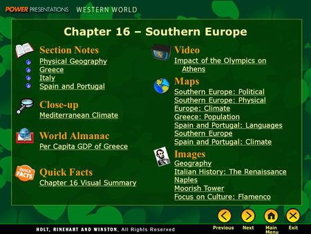 Chapter 16 – Southern Europe Section Notes Physical Geography Greece Italy Spain and Portugal Video Impact of the Olympics on Athens Images Geography Italian.