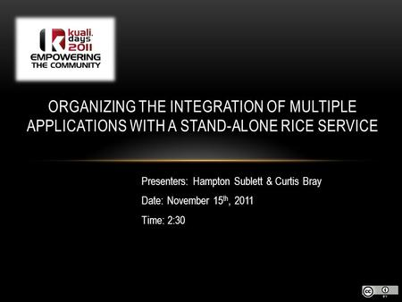 Presenters: Hampton Sublett & Curtis Bray Date: November 15 th, 2011 Time: 2:30 ORGANIZING THE INTEGRATION OF MULTIPLE APPLICATIONS WITH A STAND-ALONE.