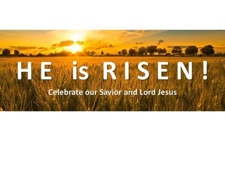 H E is R I S E N ! Celebrate our Savior and Lord Jesus.