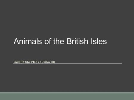 Animals of the British Isles GABRYSIA PRZYŁUCKA IIB.