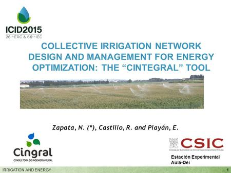 "Zapata, N. (*), Castillo, R. and Playán, E. 1IRRIGATION AND ENERGY COLLECTIVE IRRIGATION NETWORK DESIGN AND MANAGEMENT FOR ENERGY OPTIMIZATION: THE ""CINTEGRAL"""