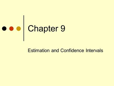 Chapter 9 Estimation and Confidence Intervals. Our Objectives Define a point estimate. Define level of confidence. Construct a confidence interval for.