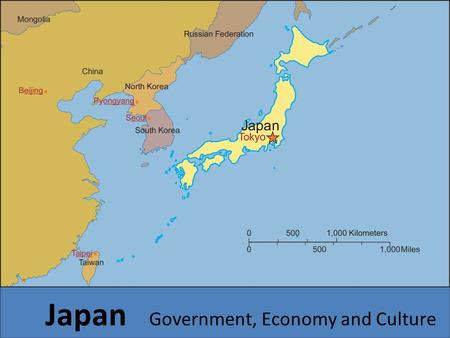 Japan Government, Economy and Culture. Japan's Government Type of Government: Constitutional Monarchy – Parliamentary government (parliament makes laws.