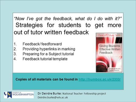 Dr Deirdre Burke: National Teacher Fellowship project Copies of all materials can be found in