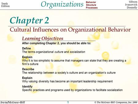 Organizations Behavior Structure Processes Tenth Edition Gibson Ivancevich Donnelly Irwin/McGraw-Hill © The McGraw-Hill Companies, Inc. 2000 1 Chapter.