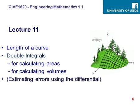 CIVE1620 - Engineering Mathematics 1.1 Length of a curve Double Integrals - for calculating areas - for calculating volumes (Estimating errors using the.