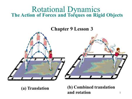 Rotational Dynamics The Action of Forces and Torques on Rigid Objects