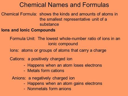 Ions and Ionic Compounds Ions: atoms or groups of atoms that carry a charge Cations: a positively charged ion - Happens when an atom loses electrons -